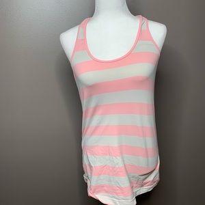 Lululemon pink white striped cool racerback